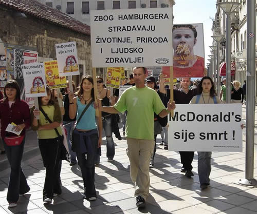 Anti-McDonald's protest in Split 1